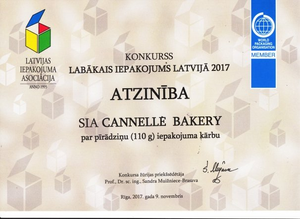 RECOGNITION FOR THE CANNELLE BAKERY PIES PACKAGING