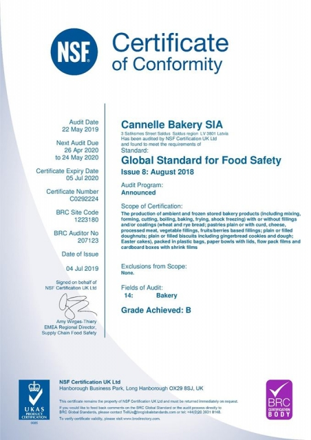 Cannelle Bakery Re-certifies Against the BRC Standard