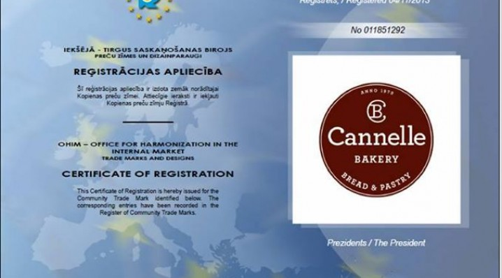 Cannelle Bakery trade mark registered in European Commission